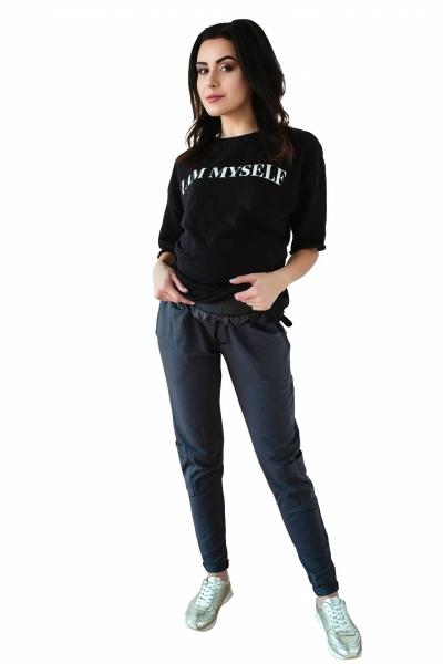 Tehotenské tepláky/nohavice slim - grafit-XS (32-34)