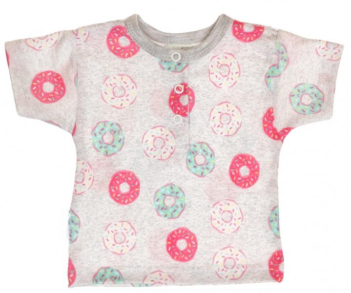 MBaby Bavlnené Polo tričko s krátkym rukávom Donuty veľ. 68 - sivé-68 (4-6m)