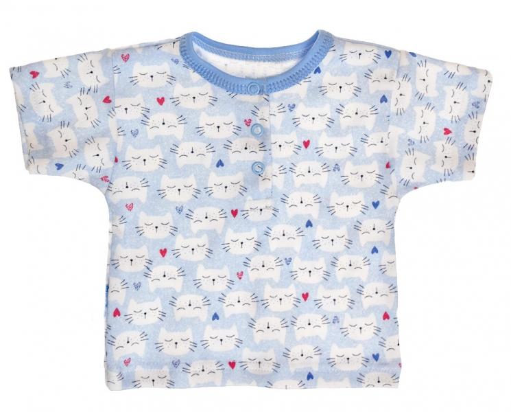 MBaby Bavlnené Polo tričko s krátkym rukávom Mačičky veľ. 68 - modré-68 (4-6m)