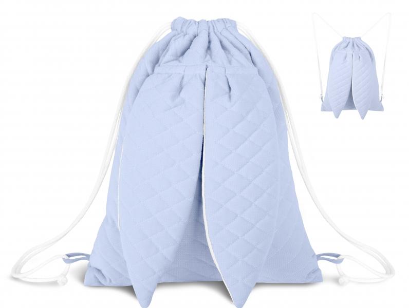 Štýlový detský batôžtek Velvet lux mimino prešívaný - modrý