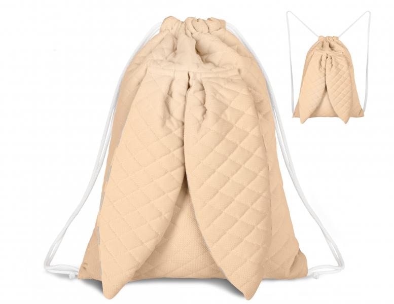 Štýlový detský batôžtek Velvet lux mimino prešívaný - marhuľová