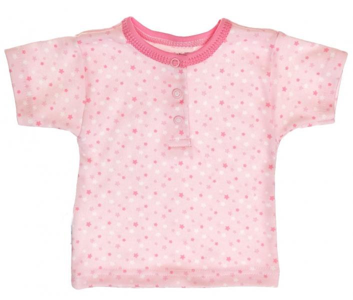 MBaby Bavlnené Polo tričko s krátkym rukávom Hviezdičky - ružové-68 (4-6m)