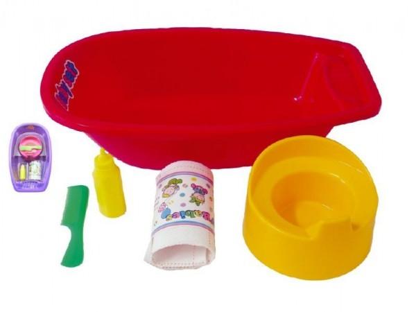 Vanička + nočník, plienka s doplnkami plast 40x9,5cm asst 2 farby