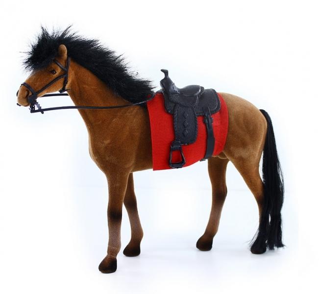 Rappa Kôň flíska 32 cm hnedo čierny