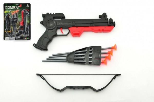 Teddies Pištoľ s lukom na prísavky plast 27cm asst 2 farby na karte