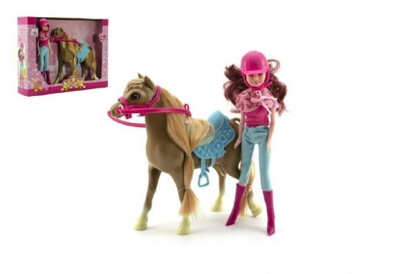 Teddies Kôň + bábika žokejka plast v krabici 34x27x7cm