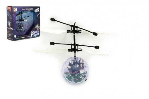 Teddies Vrtuľníková gule plast 13x11cm s USB káblom na nabíjanie v krabičke
