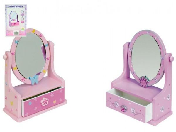 Teddies Zrkadlo šperkovnica zásuvka drevo 16,2x24,2x8,5cm asst 3 farby v krabici