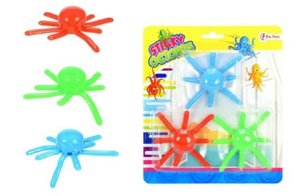 Chobotnica lezúci po skle 3ks plast 8cm na karte.