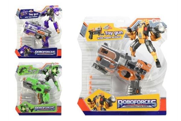 Teddies Transformer / pištoľ na penové náboje plast 18cm asst 3 farby na karte