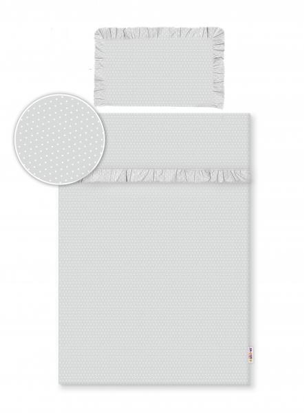 Baby Nellys 2-dielne bavlnené obliečky s volániky -  šedé/bodky biele