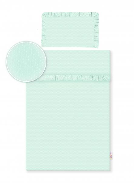 2-dielne bavlnené obliečky s volániky -  mátová/bodky biele, 135x100 cm