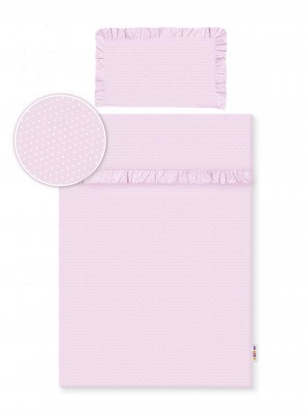 Baby Nellys 2-dielne bavlnené obliečky s volániky -  růžová/bodky biele