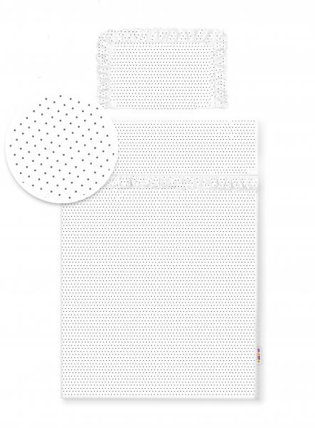 2-dielne bavlnené obliečky s volániky -  biele/bodky čierne, 135x100 cm