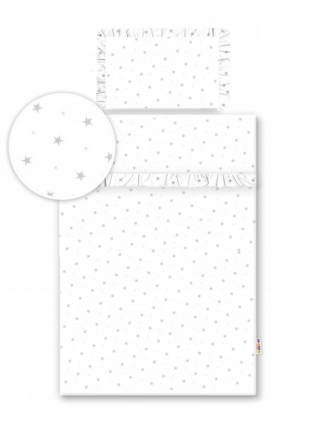2-dielne bavlnené obliečky s volániky -  biele/hviezdička šedá, 135x100 cm