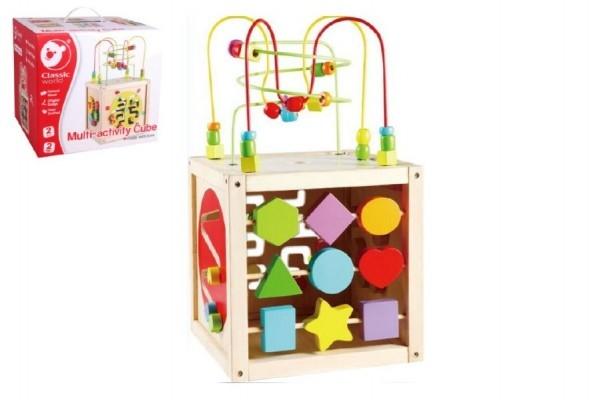 Teddies Edukačná kocka MAXI drevo 30x30cm labyrint v krabici 33x30x30cm