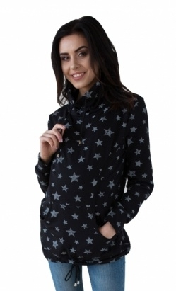 Tehotenská a dojčiace mikina s roláčikom - čierna, potisk hviezdičky