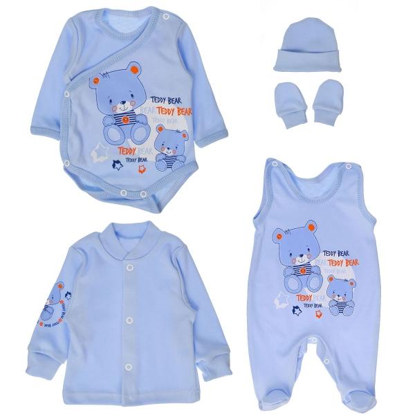 Súpravička do pôrodnice 5D - medvedíky Teddy - modrá-50 (0-1m)