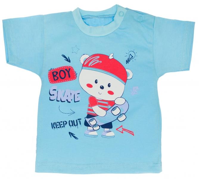 Bavlnené tričko veľ. 80 - Medvedík Skate - tyrkysové-80 (9-12m)