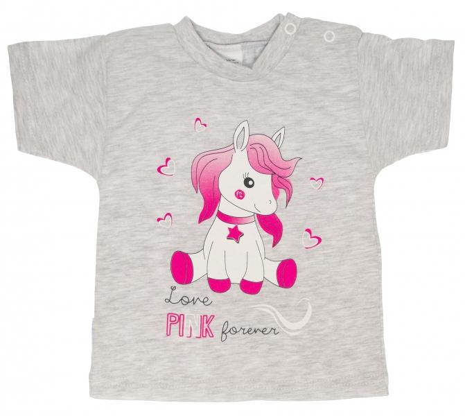 Bavlnené tričko veľ. 98 - Pony - sivé-98 (24-36m)