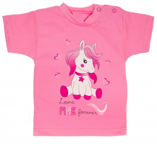 MBaby Bavlnené tričko, veľ. 68 - Pony - ružové-68 (4-6m)