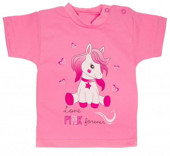 Bavlnené tričko, veľ. 98 - Pony - ružové-98 (24-36m)