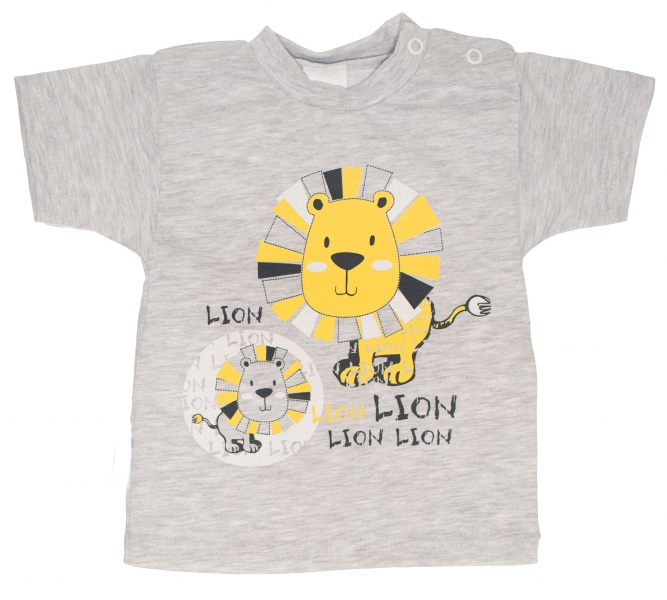 MBaby Bavlnené tričko, vel. 68 - Lev - sivé-68 (4-6m)