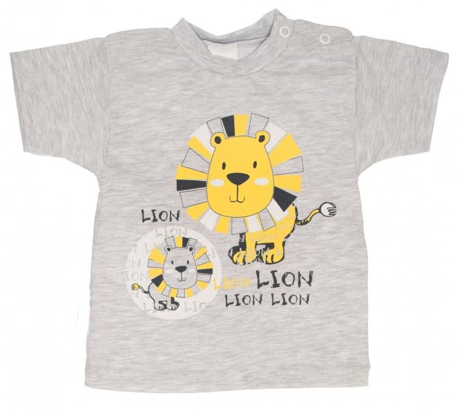 Bavlnené tričko, vel. 80 - Lev - sivé-80 (9-12m)