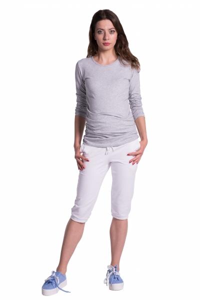 Moderné tehotenské 3/4 nohavice s vreckami - biele
