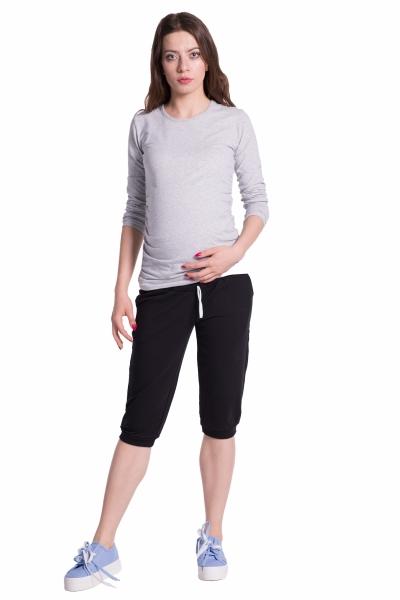 Be MaaMaa Moderné tehotenské 3/4 nohavice s vreckami - čierne, vel´. XXL