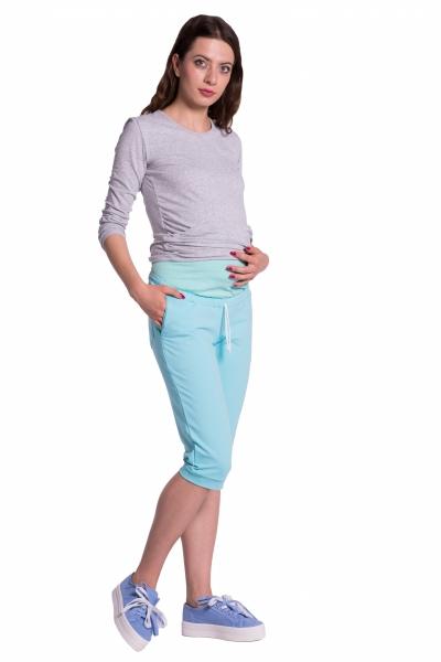 Moderné tehotenské 3/4 nohavice s vreckami - mätové