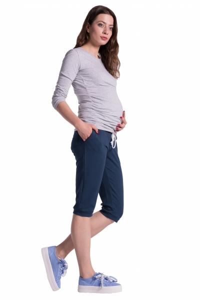 Moderné tehotenské 3/4 nohavice s vreckami - navy