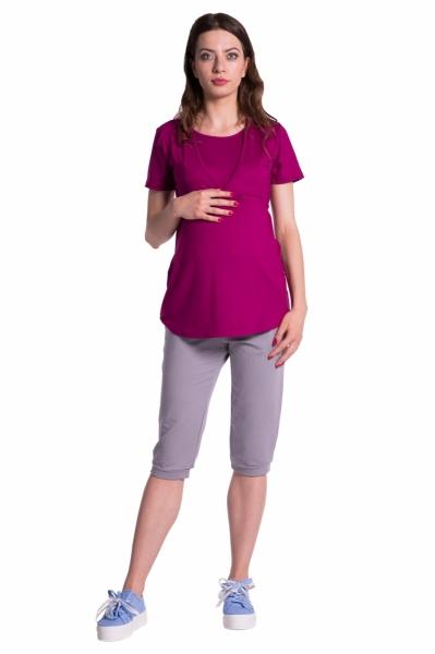Moderné tehotenské 3/4 nohavice s vreckami - šedé