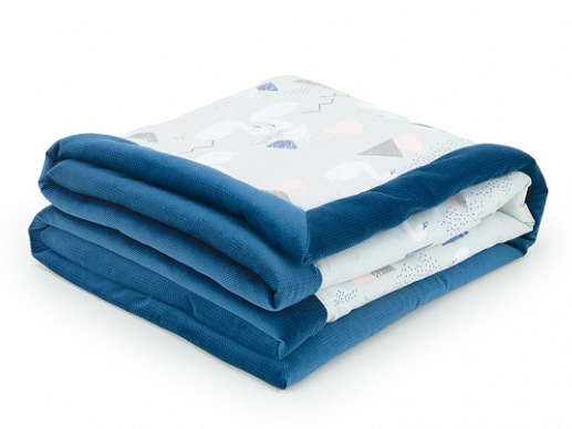 Obojstranná dečka Velvet 75 x 100 cm - Labute sivé/ tm. modrá