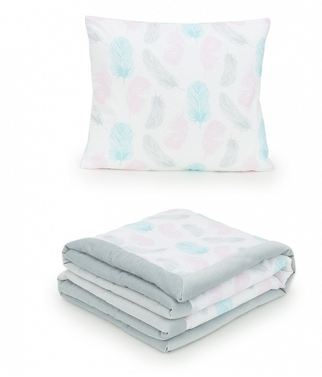 2-dielna sada obojstranná deka Velvet 75 x 100 cm s vankúšikom - Pierka sivá