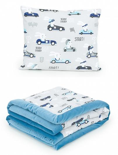 2-dielna sada obojstranná deka Velvet 75 x 100 cm s vankúšikom - Preteky sivá/modrá
