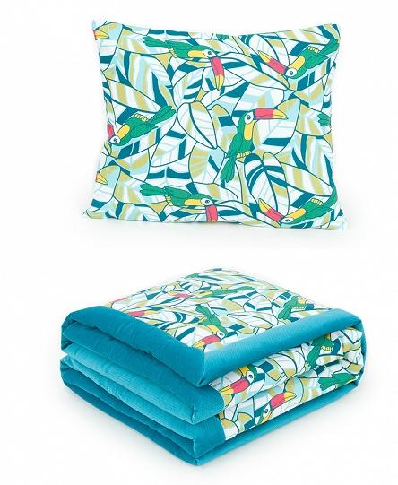 2-dielna sada obojstranná deka Velvet 75 x 100 cm s vankúšikom - Tukani morská
