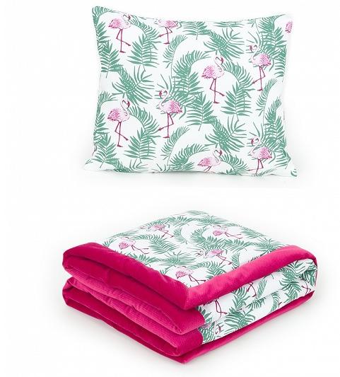2-dielna sada obojstranná deka Velvet 75 x 100 cm s vankúšikom - Plameniaky tm. ružová