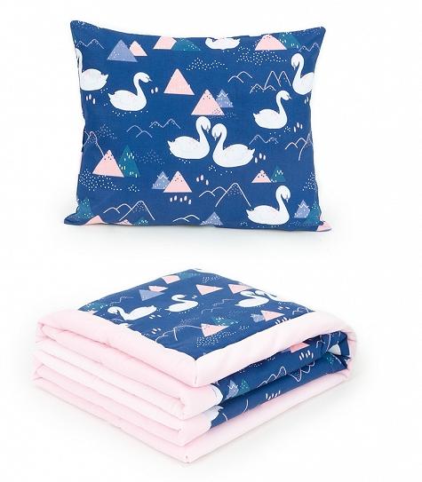 2-dielna sada obojstranná deka Velvet 75 x 100 cm s vankúšikom - Labute tm. modré/ružová