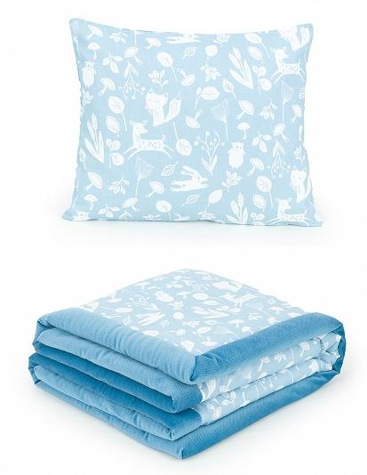 2-dielna sada obojstranná deka Velvet 75 x 100 cm s vankúšikom - Les modrý