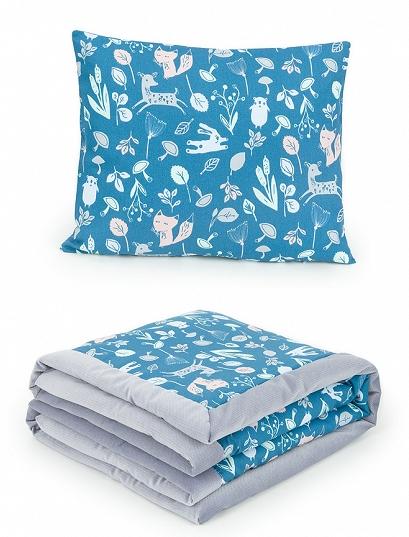 2-dielna sada obojstranná deka Velvet 75 x 100 cm s vankúšikom - Les tm. modrý/sivá