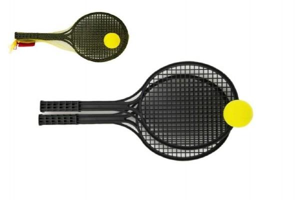 Teddies Soft tenis plast čierny + loptička 53cm v sieťke