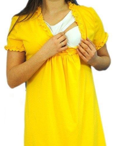 Tehotenská, dojčiace nočná košeľa s volánikom - žltá