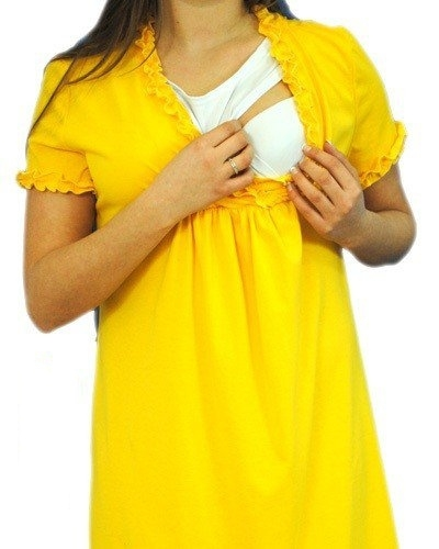 Be MaaMaa Tehotenská, dojčiace nočná košeľa s volánikom - žltá, vel´. L/XL-L/XL