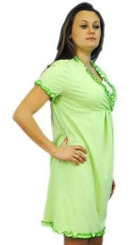 Tehotenská, dojčiace nočná košeľa s volánikom - sv. zelená
