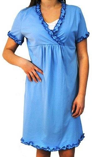Be MaaMaa Tehotenská, dojčiace nočná košeľa s volánikom - modrá, vel´. L/XL-L/XL