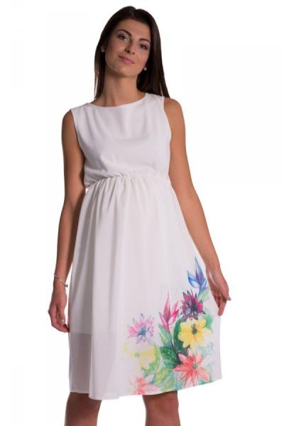 Be MaaMaa Tehotenské šaty bez rukávov s potlačou kvetín - ecru