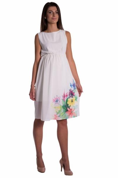 Tehotenské šaty bez rukávov s potlačou kvetín - ecru