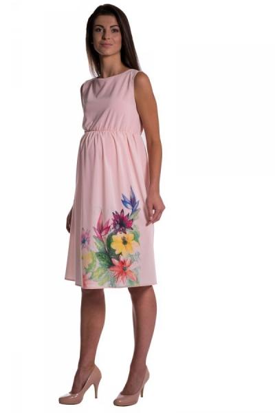 Tehotenské šaty bez rukávov s potlačou kvetín - ružová
