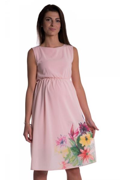 Be MaaMaa Tehotenské šaty bez rukávov s potlačou kvetín - růžová, vel´. XXL-XXL (44)
